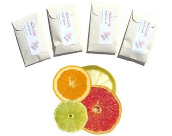 Scented Sachets Set Favors Orange Lemon Grapefruit Citrus Crystal Clear Aromatherapy Decor Paper Natural Linen Seed Packets Custom Color