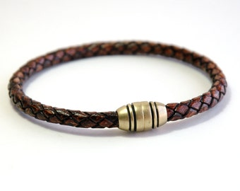 Mens bracelet, Leather bracelet, Leather and braided bracelet, Men's jewelry, Men's gift, Magnetic clasp, Brown leather bracelet, Brass