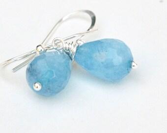 Blue Earrings, Drop earrings, Sky Blue Quartz Earrings, Sterling silver, Semiprecious Jewelry, Gift for her, Blue jewelry, Casual jewelry