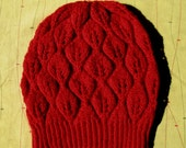 Hand Knit Hat - Happa Hat in Red -100% wool