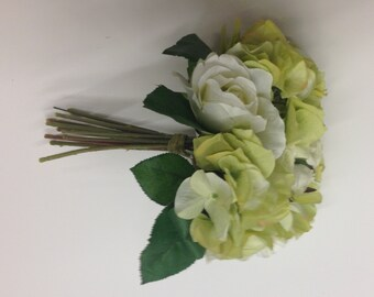 Green and White Rose and Hydrangea Bouquet