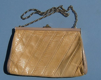 1960s Retro Snakeskin Handbag / Purse by Jane Shilton of England