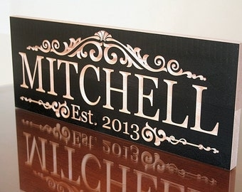 5 Year Anniversary Gift, Family Established Sign, Personalized Sign, Wedding Date Sign, Benchmark Signs Maple LM