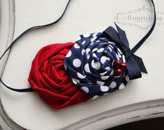 Red and Blue Rosette headbands, 4th of july headbands, nautical headbands, red headbands, newborn headbands, photography prop