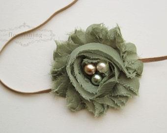 Sage Chiffon Flower headband, baby flower headbands, green headbands, newborn headbands, photography prop
