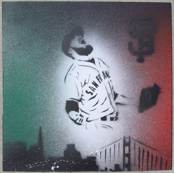 SF Giants Sergio Romo Mexican Flag Original Stencil Painting on mdf board