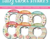 Nursery Closet Dividers - Set of 6 - Baby Shower Gift - Girl