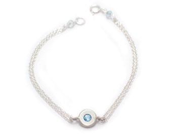 Floating Aquamarine Bracelet - Sterling Silver - Double Chain Bracelet - Chain and Gemstone Bracelet