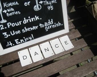 Vintage alphabet cards spelling DANCE