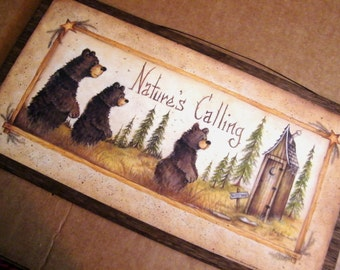 Retro Vintage Primitive OUTHOUSE Bath Bathroom Sign NATURE'S CALLING  Wood Wall Country Shabby Wall Decor Picture