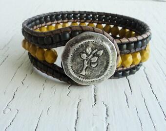 Beaded Cuff Bracelet, Mustard and Grey  Wrist Cuff, Tree Cuff Bracelet, Leather Wrap Bracelet, Leather Cuff, Boho Bracelet, Bohemian Jewelry