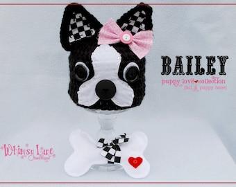 Newborn Boston Terrier Hat & Bone-Photo Prop-Puppy Love-