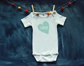 BABY BODYSUIT - mint LOVED heart