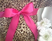 Maternity Hospital Gown - Cheetah Gown with Bright Pink Bow