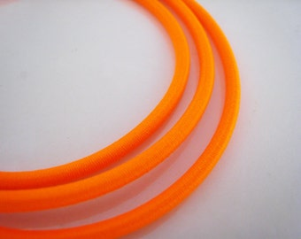 A78 - 1 Yard of 3mm Neon Orange Round Stretch Elastic Drawcord Rope Cord