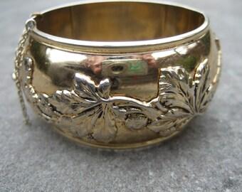 WHITING DAVIS Gilt Leaf Repousse Cuff Bracelet