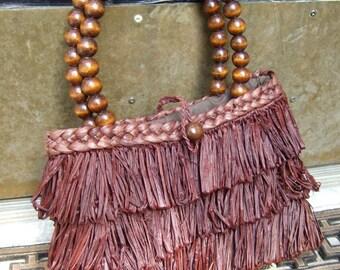 Unique Brown Straw Vintage Handbag c 1970