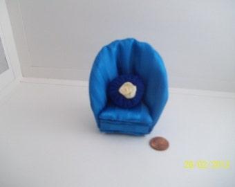 Blue Satin Barrel Chair