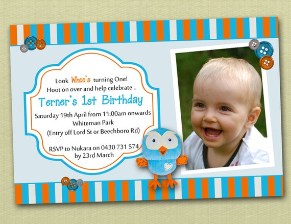 Photo Personalised Hoot Owl Birthday Invitations - You Print