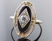 Vintage Art Nouveau Diamond and Onyx 14kt Yellow Gold Solitaire Ring
