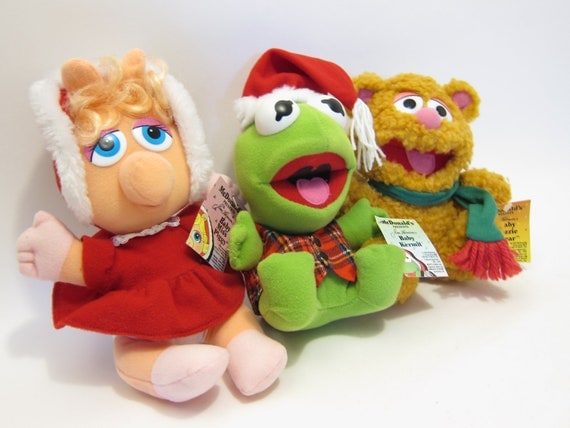 Vintage Baby Muppets Kermit The Frog Miss Piggy Fozzy Bear