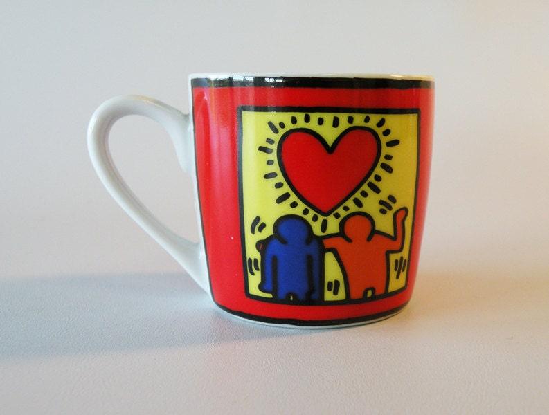 Vintage Keith Haring Espresso Mug Love Friendship Coffee