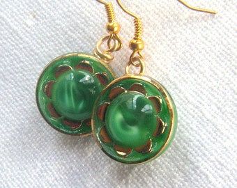 Dangling Button Earrings, Green and Gold Vintage Glass Button Earrings, molded glass German buttons, gold accent, Schwanda buttons
