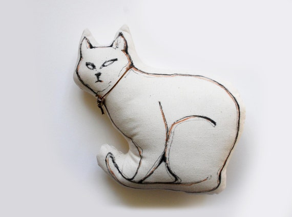 Cat Pillow - Limited edition - Cat drawing on fabric - Now only one available - White/ black ink pen special for fabric aplication