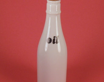 White Glass Oil Bottle With Cork