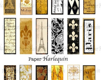 Paris Vintage Style Rich Microscope Slides for Charms, Scrapbook, ATC, Tags, Journals, Decoupage, Jewelry