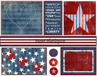 July 4th Patriotic Red, White, and Blue Americana Digital Collage Sheet DIY craft Party, Scrapbook, Cards, Invites