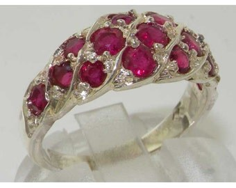 English 925 Sterling Silver Genuine Natural Ruby Cluster Eternity Band, Wave Ring - Made in England - Customizable