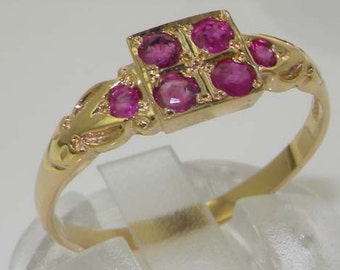 Dainty 9K 375 Yellow Gold Natural Ruby Cluster Square Ring, 6 Stone Ring, English Antique Victorian Vintage Style Ring