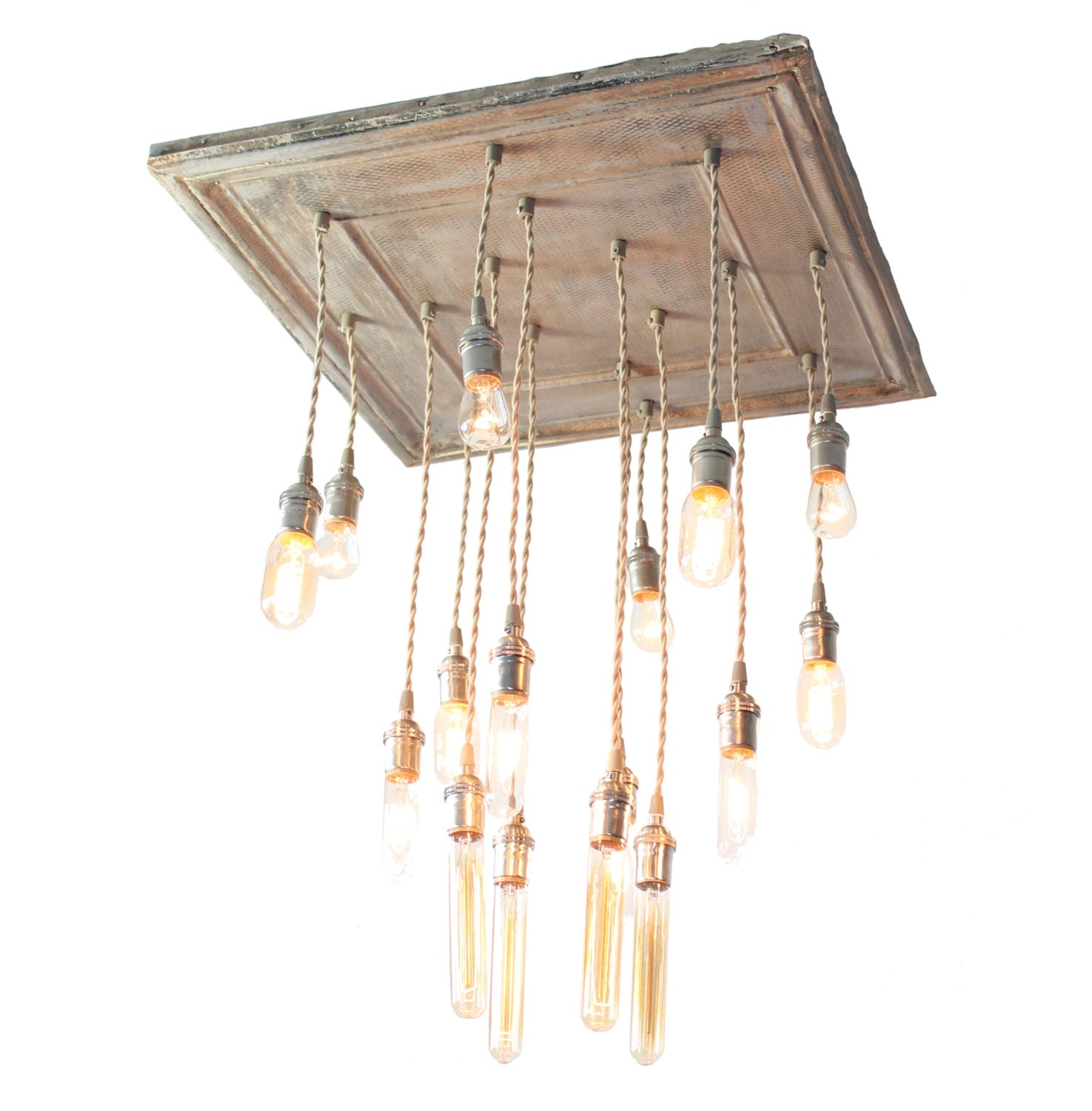 Just Reduced Rustic Handmade 3 Bulb Hanging Light Fixture Or: Salvaged Barn Tin Repurposed Into Chandelier With By