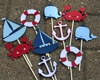 12 Nautical Cupcake Toppers,  Crab Cupcake toppers, Nautical Birthday, Crab Birthday, First Birthday, Cupcake toppers, Anchor Cupcake topper