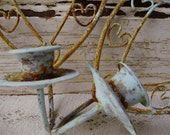 Rusty Metal Candle Sconce Pair Primative Shabby Chic Cottage Heart Blue