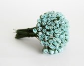 25 pcs - Light Blue Mulberry Paper Micro Rose buds - swettacraftsuplies