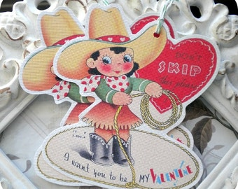 Valentine Cowgirl Tags (6) Valentine Gift Tags-Valentine Favor Tag-Valentine Treat Tag-Classroom Valentine-Tags for Valentine-Treat Bag Tags