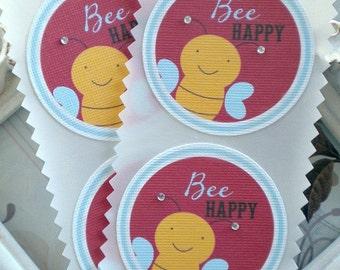 Bee Happy Stickers - Set of 8 - Bee Stickers-Bee Envelope Seals-Bee Favor Stickers-Bee Birthday Party-Bee Labels-Bee Baby Shower-Bumblebee