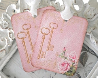 Shabby Skeleton Key Gift Tags (6) Shabby Pink Gift Tags-Key Tags-Rose Gift Tags-Wedding Gift Tag-Favor Tags-Treat Tags-Birthday Gift Tag