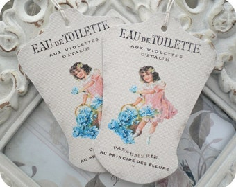 French Dress Form Gift Tags - Set of 6-Antique Label-Dress Form Die Cut-French Gift Tags-Vintage Style Tags-Shabby Gift Tags-French Ephemera