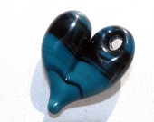 Heart Necklace Glass Hand Blown Boro Jewelry Lampwork Focal Bead Pendant Black Teal Small South Western