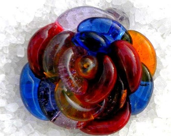 Glass Rose Necklace Pendant Custom Personalized Handblown Lampwork SRA