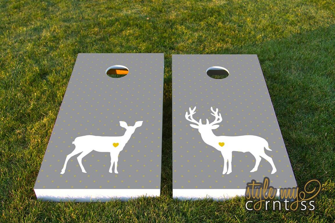 Wedding Cornhole Set W Bags Deer Love By Stylemycorntoss