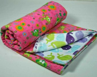 Minky Whales and Pink Flannel Baby Girl Cuddle Blanket