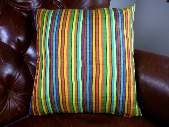 Throw Pillow Cover 18 x 18 - Authentic Ghanaian Textiles - Ghana, West Africa