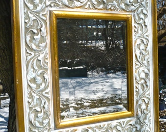 Carved Wood Mirror, 15 x 17 Mirror, Chunky Frame, Carved Frame Beveled Mirror, Gold White Mirror, Ornate Frame, Rustic French Provincial
