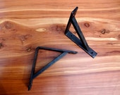4 X 4 Shelf Brackets FREE SHIPPING to be installed on my wood slabs, quantity of two, hand forged metal, beeswax coated, mounting support