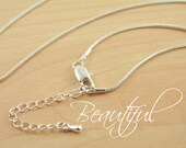 Snake Chain. 18-21inch (Approx) High Quality 1.2mm + extender chain adjustable Necklace. Beautiful lobster clasp style - Silver - 10 Chains.