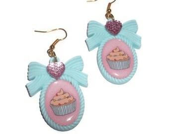 Mint Green Cupcake Earrings, Cute Heart Cameo Earrings, Kitsch Kawaii